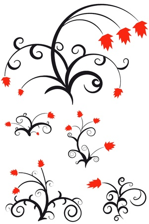 Decorative floral ornament for your design on white background