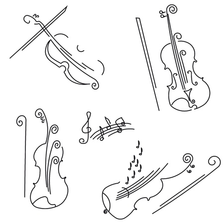violas: Violin. Collection for your design. Illustration