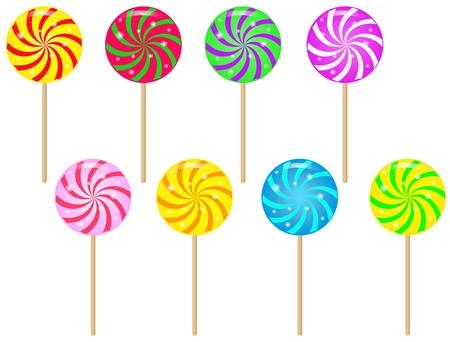 paletas de caramelo: Paletas de colores en espiral. Vectores