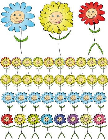 Cartoon flowers. Stock Vector - 16572125