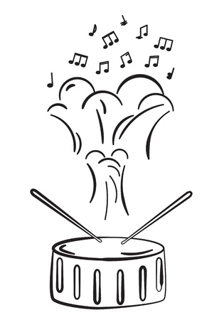 marching: Drum and notes sketch Illustration