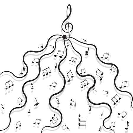Musical notes with shadow on white background Stock Vector - 16613587