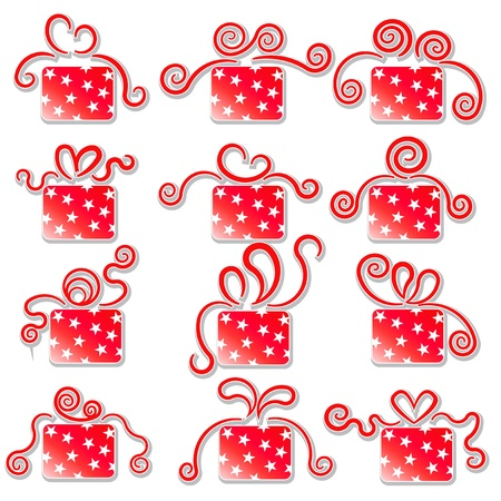 Collection of red gift boxes on a white background  Stock Vector - 16748503
