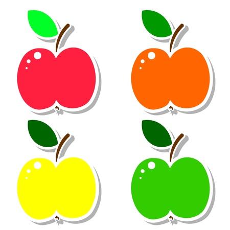 sticker design: Apple set  Illustration