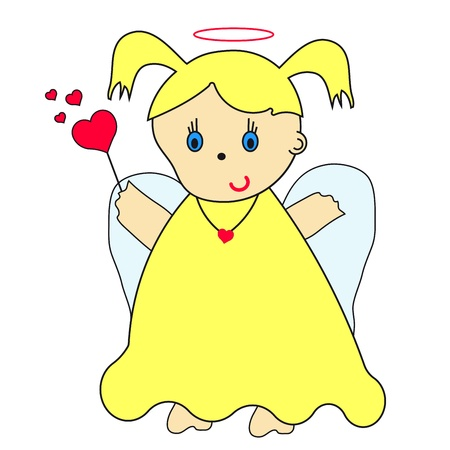 angel cartoon: little angel with heart and magic wand Illustration