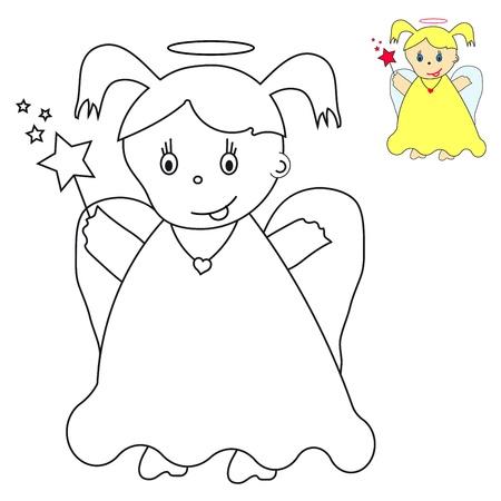 baby angel: angioletto con cuore e bacchetta magica Vettoriali