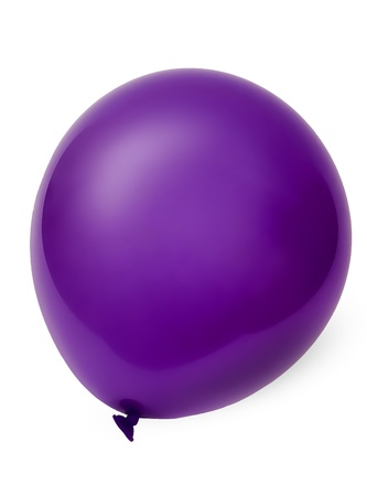 Foto of violet flying balloon isolated on white background  With clipping path