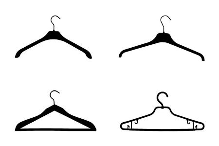 Set of coat hangers silhouette isolated on white background