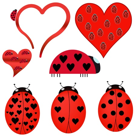 lady beetle: ladybugs icon set Illustration