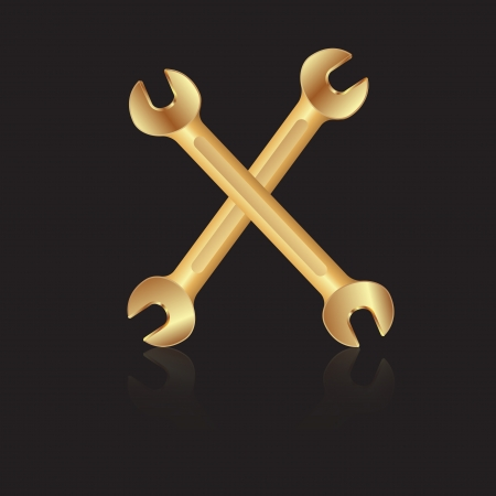 Two gold wrench tools icon Illustration