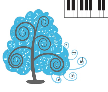 Tree with notes  Piano keyboard Illustration