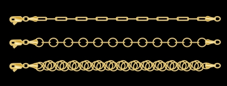Set  a gold chain Vector