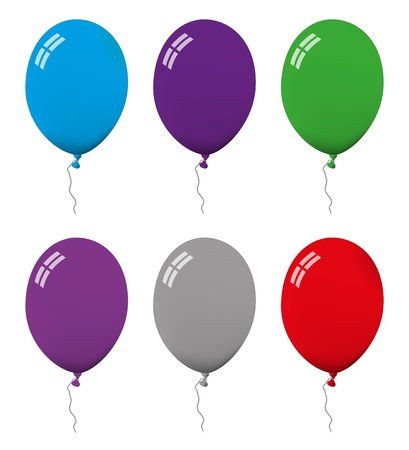 Set of ballon illustrations in different colors Illustration