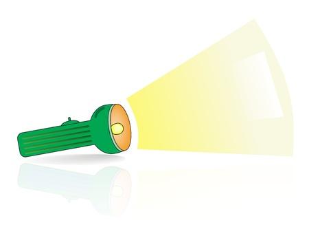 small lamp: Green flashlight   A Vector illustration