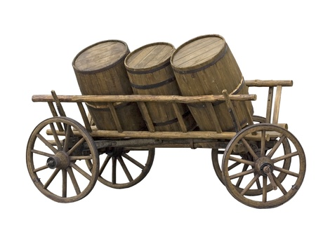 craft product: Old cart with three barrels for transport of beer or wine