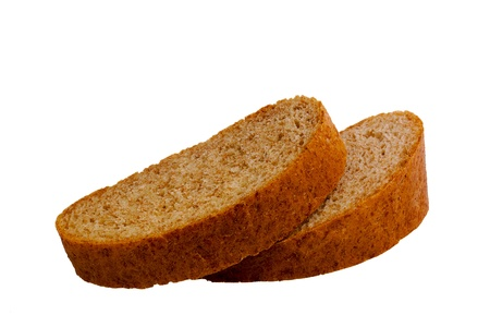Two slices of bread on white background