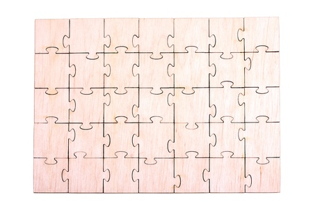 Wooden puzzle pattern on white background Stock Photo
