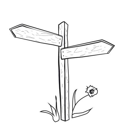 fourchette  route: Le pointeur de la route. Poteau en bois avec des fl�ches sur un fond blanc.