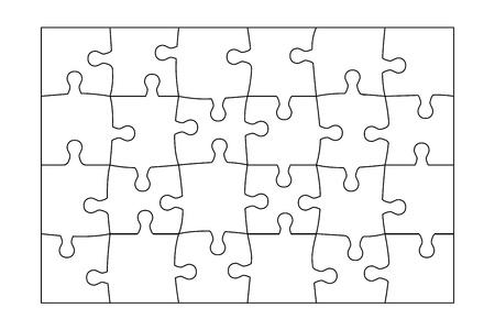 puzzle piece: Jigsaw Puzzle plantilla de 24 piezas vectorial. Vectores