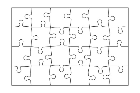 Jigsaw Puzzle template 24 pieces vector. Vector