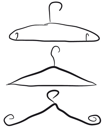 clothes hanger: black hangers isolated over white background. vector illustration