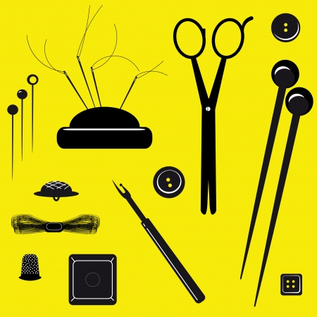 Sewing kit on a yellow background  A vector illustration Stock Vector - 19747672