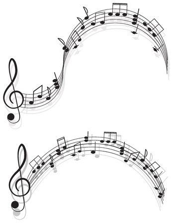 songwriter: Music. two treble clefs and notes for your design on a white background. Illustration