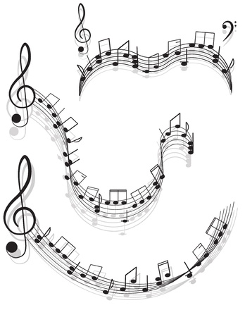 clefs: Music. two treble clefs and notes for your design on a white background. Illustration