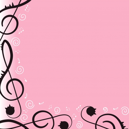 Music. Treble clef and notes for your design. Pink background. Illustration