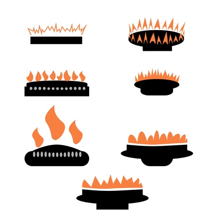 gas fire: Set of gas icons with burner.