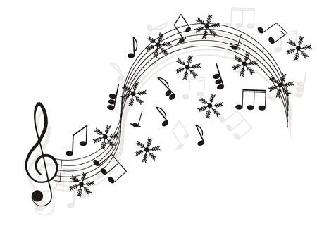 음악. 눈송이와 음자리표 및 메모