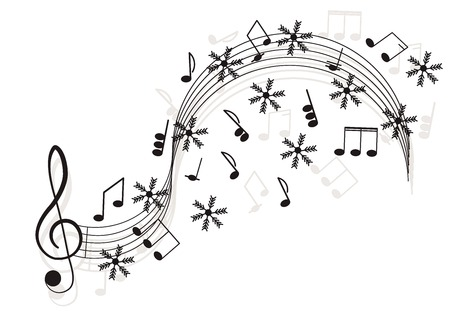 Music. Treble clef and notes with snowflake