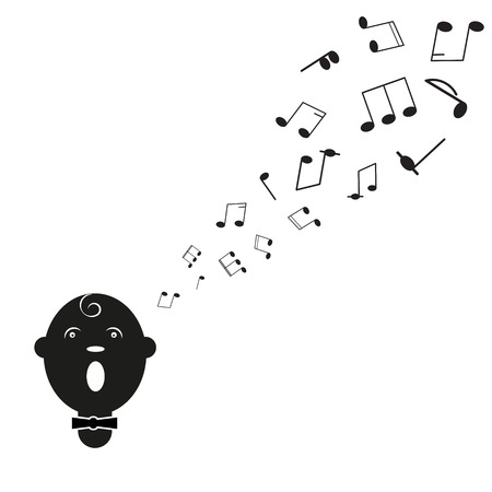 Silhouette of singer man with notes. A vector illustration Vector