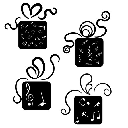 Gift box icons with treble glef and notes Illustration