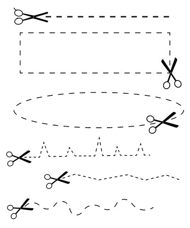 vector black scissors icons set on white Stock Photo - 23297776