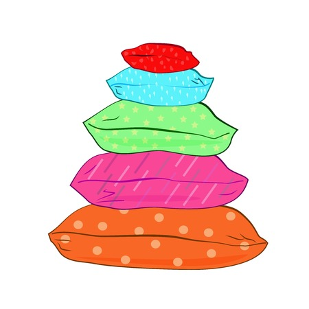 Geïsoleerde kleurrijke kussens-vector illustratie Stock Illustratie