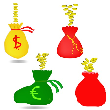 money bag with euro and dollar sign Illustration