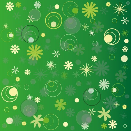 Postcard with floral pattern. Illustration on a green background.