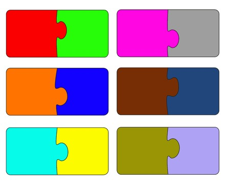 Six parts of color puzzle. A vector illustration
