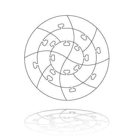 Concentric jigsaw puzzle.  Editable lines for your design. A vector illustration Illustration