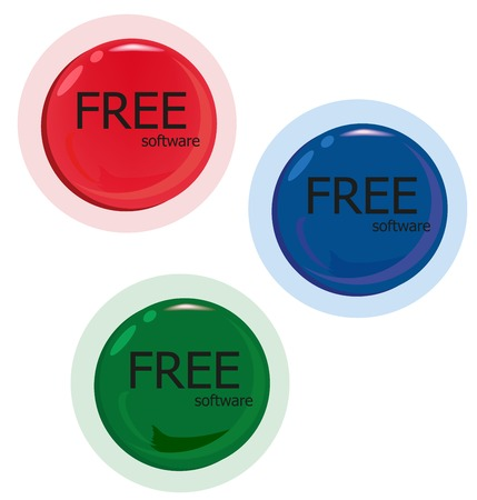 Free software download. Set of red green blue button. A vector illustration Illustration