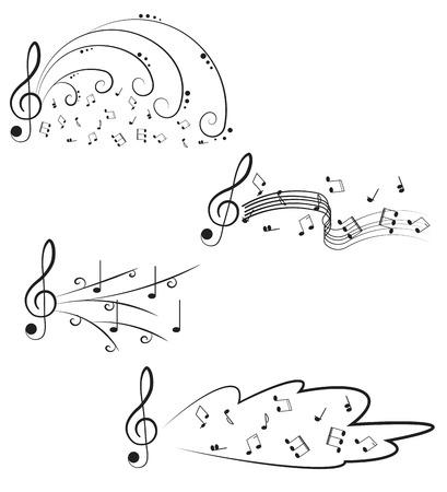 clave de fa: Música Clave de sol y notas para su diseño sobre un fondo blanco