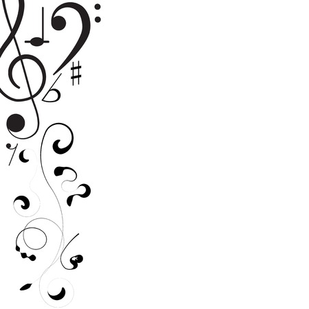 Music. Treble clef and notes for your design on a white background for you design.