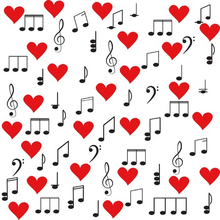 heart sounds: Music. Treble clef and notes for your design on a white background for you design.