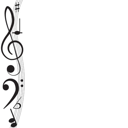 Music  Treble clef and notes for your design on a white background