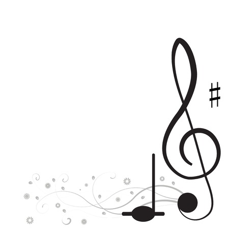 songwriter: Music  Treble clef and notes for your design on a white background