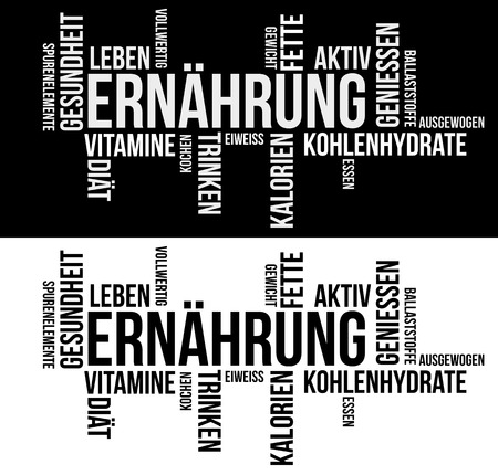 Nutrition Word Cloud in german language Ilustrace