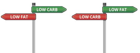 low fat diet: Low Fat Low Carb Signs Illustration