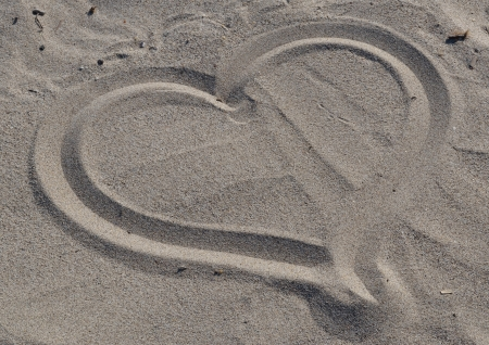 heart drawn, in the sand photo