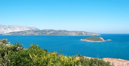 capo: Isola Molara seen from Capo Coda Cavallo Stock Photo